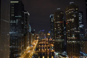 Chicago downtown at the night time